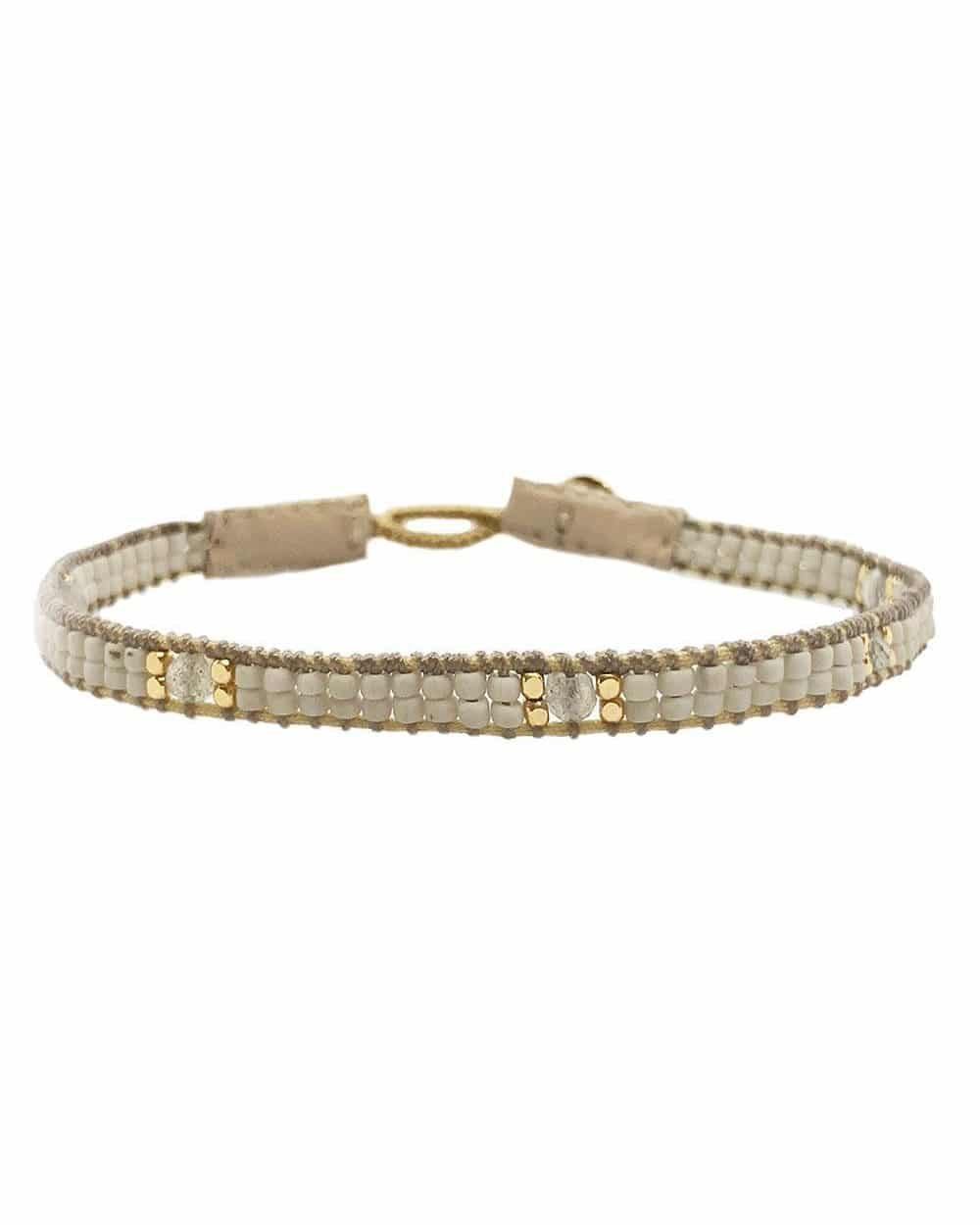IBU Jewels Jill Cap Stones Soft Grey Armband